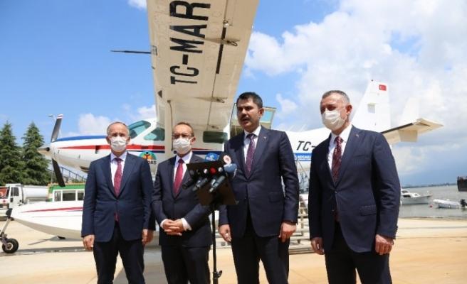 Çevre ve Şehircilik Bakanı Murat Kurum Kocaeli'deki çalışmaları havadan inceledi