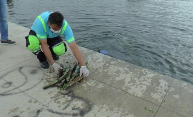 Tuzla'da atık problemine dikkat çekmek için denizden çuvallarla atık çıkarıldı