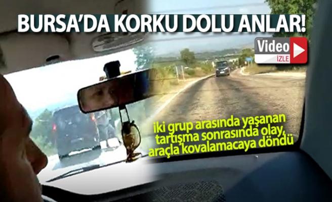 Bursa'da araçla kovalamacada korku dolu anlar