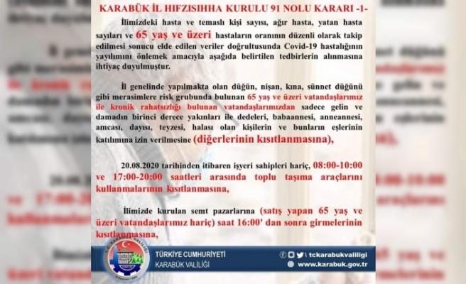 Karabük'te 65 yaş ve üstü ile 15 yaş ve altına düğün kısıtlaması getirildi
