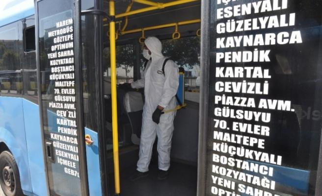 İstanbul'un en uzun minibüs hattına dezenfektan üniteleri yerleştirildi