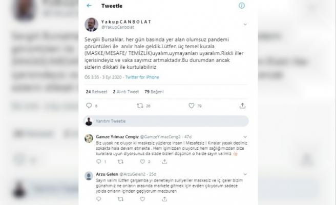 """Vali Canbolat: """"Bursa kötü anılıyor, vaka sayılarımız artıyor"""""""
