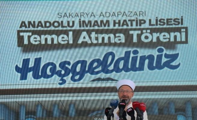 Prof. Dr. Erbaş, mezun olduğu okulun temel atma törenine katıldı