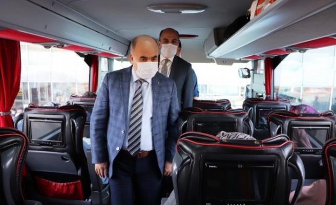 Samsun'da şehirlerarası otobüslerde korona denetimi