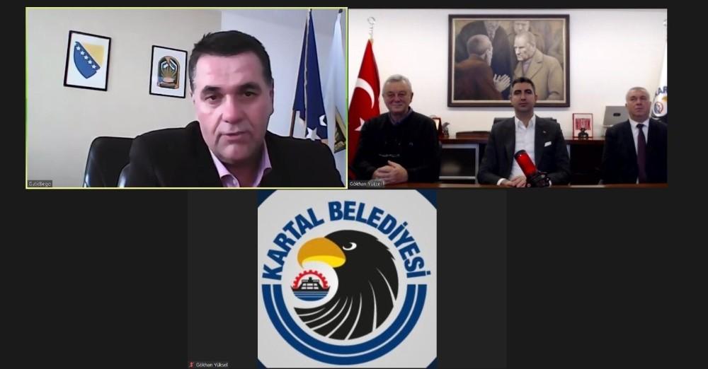 Başkan Gökhan Yüksel, kardeş belediye başkanları ile online görüşme gerçekleştirdi